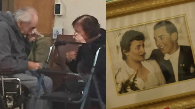 Elderly couple reunite