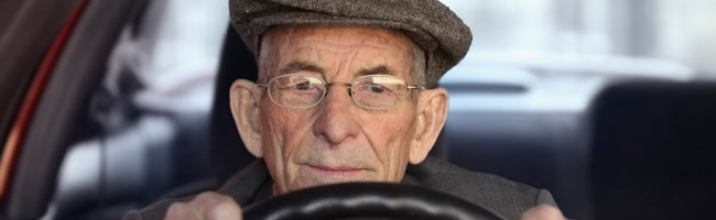 Senior man driving