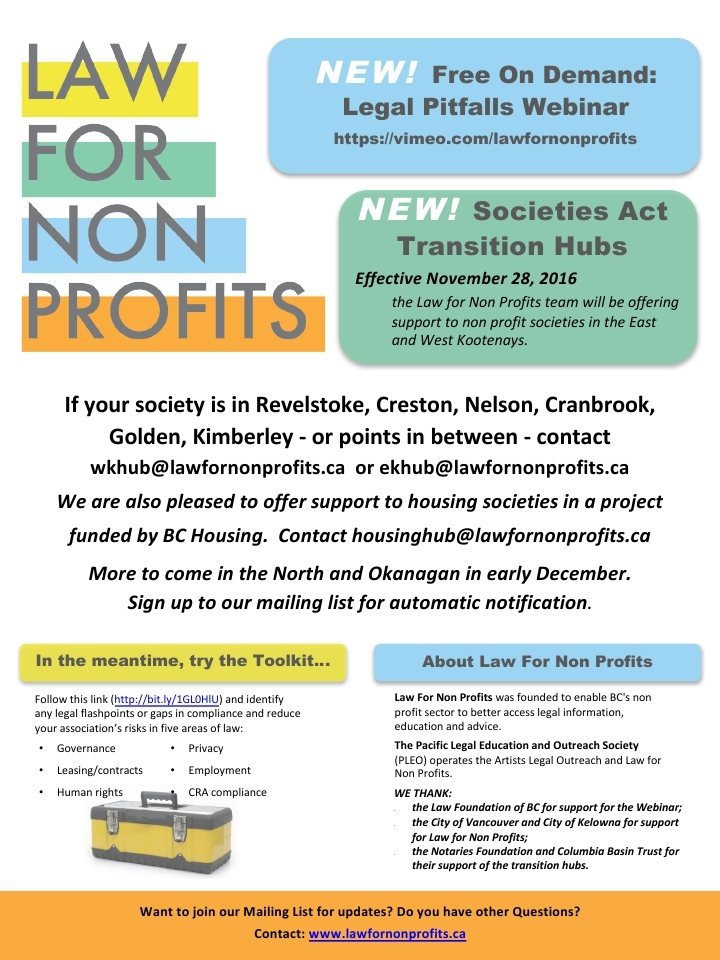 Law for non profits poster